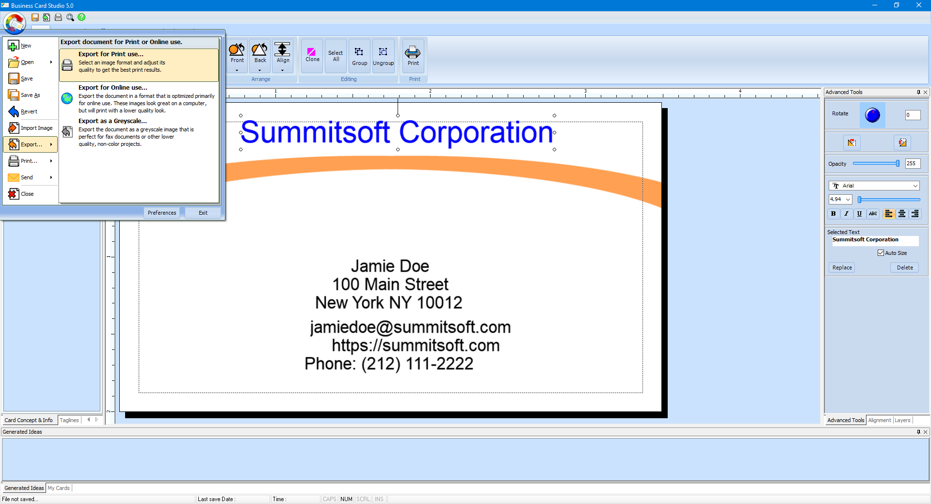 export the business card as an image