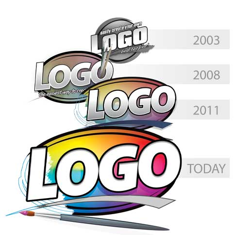 This image shows the history of the mac Logo Design Studio Pro